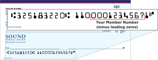 Check image highlighting member number