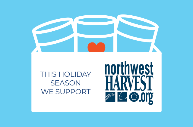 Northwest Harvest cans of food and heart icon