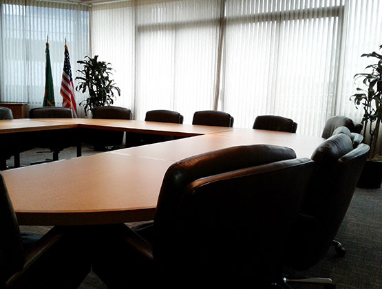 Empty Boardroom with chairs