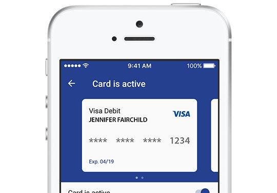 screenshot of card controls interface