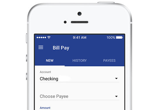 screenshot of mobile bill pay interface