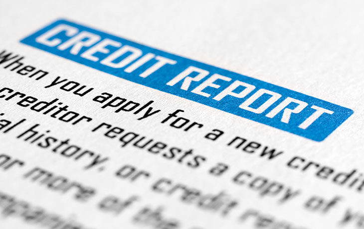 blue and black credit report close up