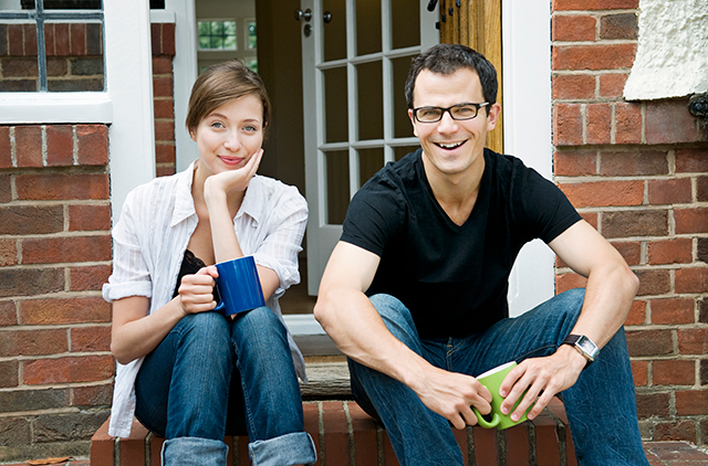 couple sitting on front step