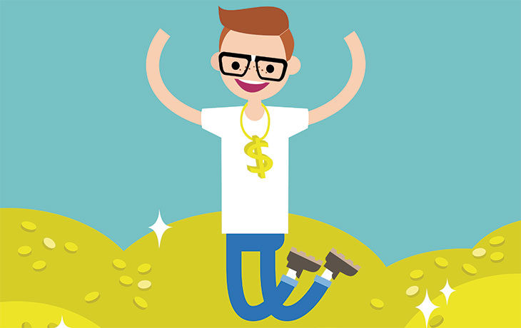 graphic of man jumping up with pleasure Save-to-be-a-Millionaire