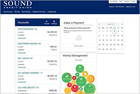 Online Banking Accounts Screen