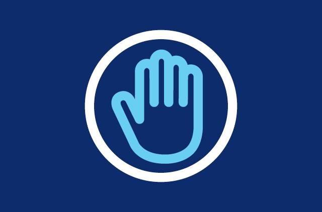 Beware hand stop icon