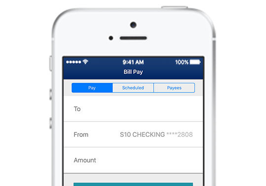 Bill Pay screen on iPhone