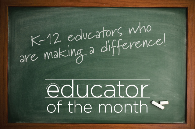 "Chalkboard that reads ""K-12 educators making a difference. Educator of the month"""