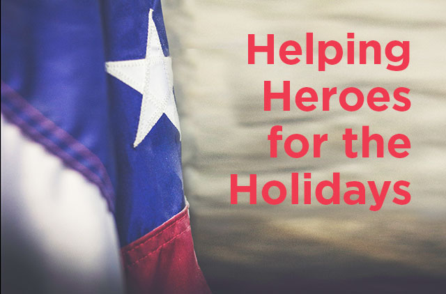 "American flag with ""helping heroes for the holidays"" written next to it"