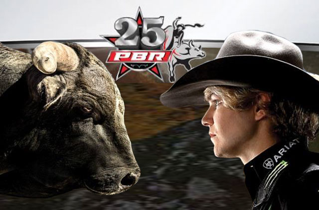 PBR Invitational, Bull and Man staring each other down.