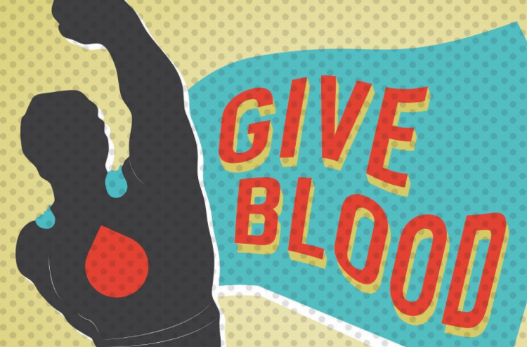 "comic style silhouette of a superhero with a red blood drop on his chest and a cape that reads ""Give blood"""