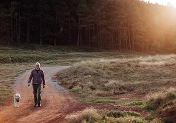 Man walking his dog on a trail