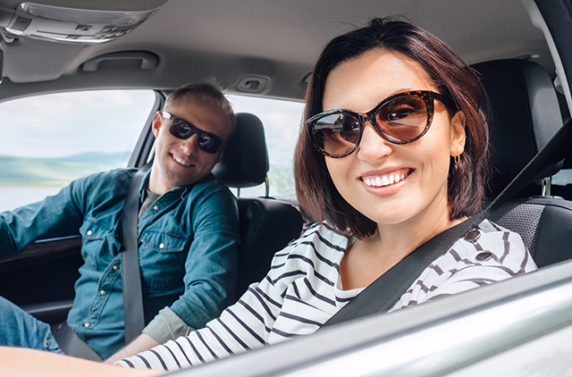 Couple driving together