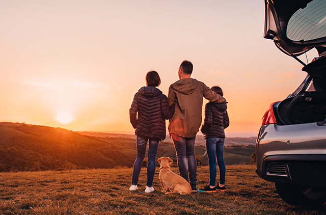 Family next to their new car watching the sun set