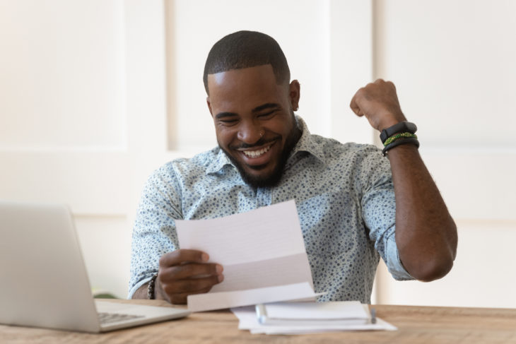 Happy guy received tax refund