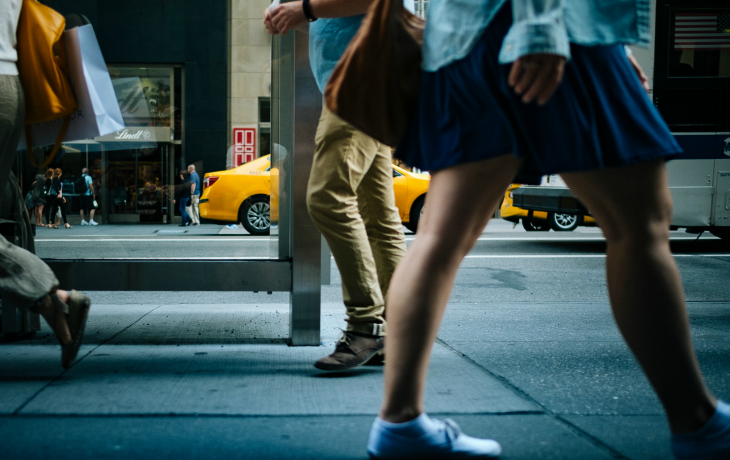 Visiting New York City? Find a Shared Branching location to withdraw from your Sound Account. People walking in NYC.